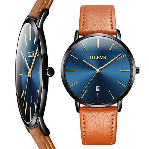 Mens Watch Thin Slim,Men Leather Watches on Sale Clearance,Fashion Quartz Date Wrist Watch for Men,Business Dress Watch Men with Yellow Black Brown Leather Strap Band,Blue Face Watch (Best Dress Watches Under 300)
