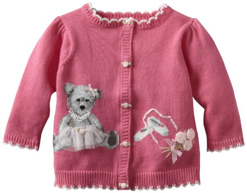 Hartstrings Baby-girls Newborn Bear Ballerina Cardigan Sweater, Pink Lilly, 0-3 (Hartstrings Cardigan Sweater)