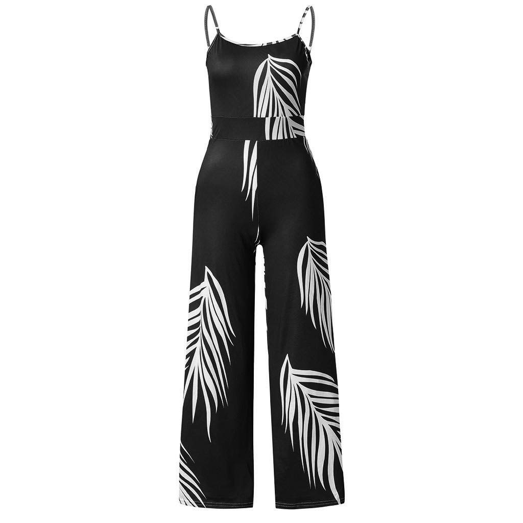 Veodhekai Womens Jumpsuit Boho Floral Print Lady Sling Sleeveless Jumpsuit Playsuits Long Rompers