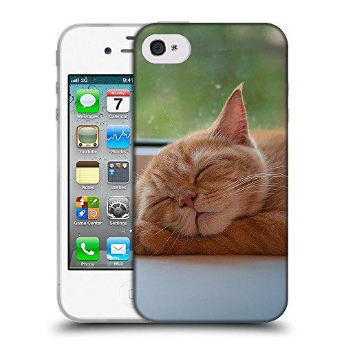 Just Phone Cases Coque de Protection TPU Silicone Case pour // V00004288 chaton mignon pattes sur slleping // Apple iPhone 4 4S 4G