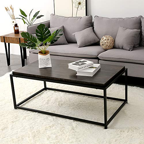 Ivinta Wood Coffee Table Modern Industrial Space Saving Couch Living Room Furniture Sofa Table, Black Metal Box Frame, Espresso Finish, 1.9 inch Ticker Top, 43 x 18 x 24 Inch,Dark Brown