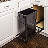 Eight24hours Single-35 Quart- Pull-Out - Trash/ Waste Container System w/ 1- Black Can + FREE E-Book