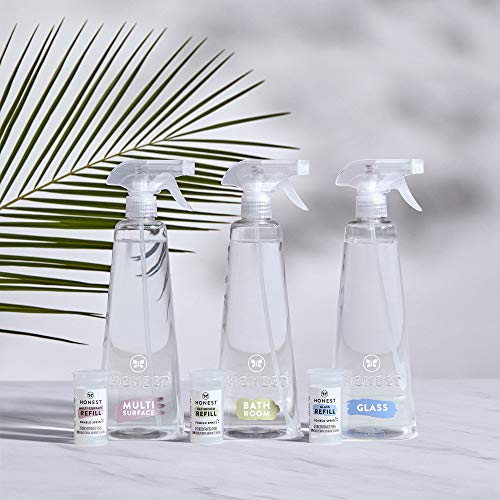 The Honest Company Conscious Cleaning Clean Vibes Kit 28 Oz Multi Surface + Glass + Bathroom Cleaner Bottles + 2 Refills Each, 168 Fl Oz