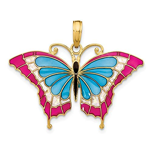 - 14k Yellow Gold Blue Pink Enameled Butterfly Pendant Charm Necklace Animal Fine Jewelry Gifts For Women For Her