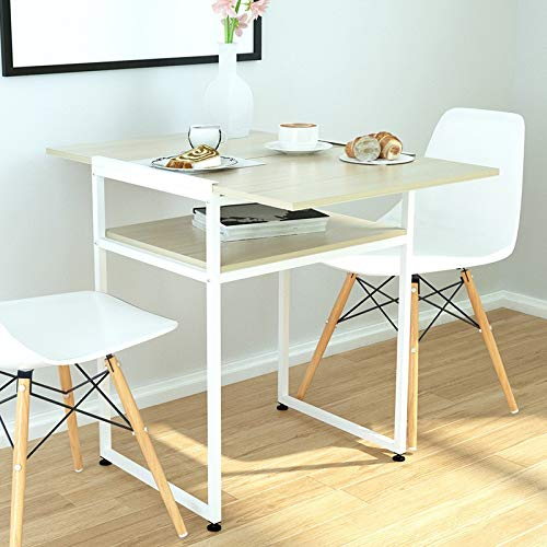Cloudro Laptop Table Desktop Computer Table Foldable Dual-use Apartment Dining Table (Sheet and Metal, White)