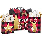 Buffalo Plaid Christmas Shopping Bag Assortment - 125 Pieces