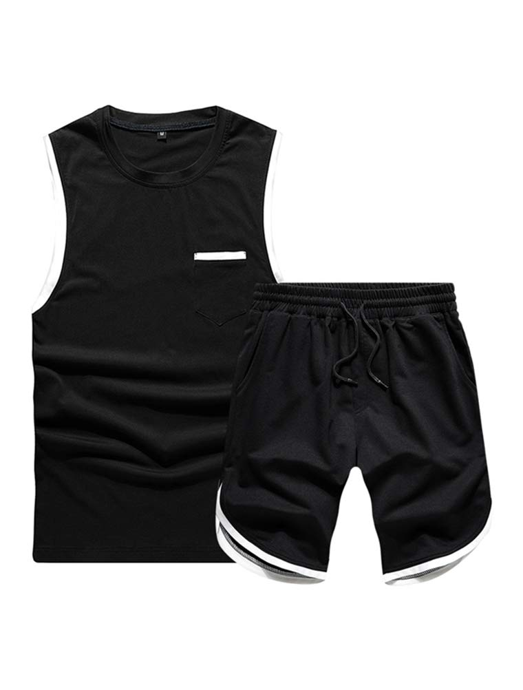 Lavnis Men's Casual 2-Pieces Tracksuit Running Athletic Sports Sleeveless T-Shirts and Shorts Suit Set Black XL by Lavnis