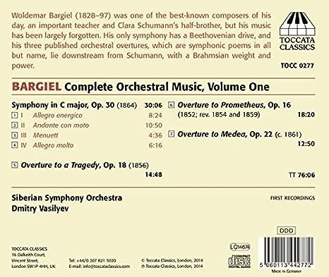 Siberian Symphonic Orchestra, Woldemar Bargiel, Dmitry Vasilyev - Woldemar Bargiel: Orchestral Music, Vol. 1 - Amazon.com Music