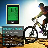 Bicycle Speedometer,  - Waterproof LCD Wireless Cycle Computer Bike Odometer - Multi Function 3 Line Display w /Backlight Motion Sensor And Cycling Safety Flashlight- For Mountain, Bikes Accessories