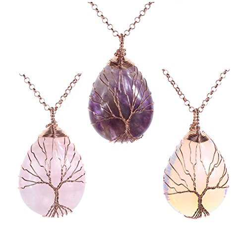 Jovivi 3pcs Vintage Natural Healing Crystals Stone Necklace Wire Wrapped Copper Tree of Life Teardrop Gemstones Chakra Pendant Necklace for Women