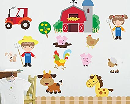 Skyllc Cartoon Farmhouse Mural Happy Farm Wall Stickers Childrens