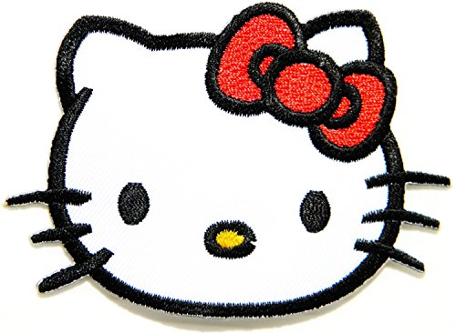 Hello Kitty Cartoon Patch (Red Bow)embroidered Iron on Hat Jacket Hoodie Backpack Ideal for Gift/ 7.5cm(w) X - Bow Hellokitty