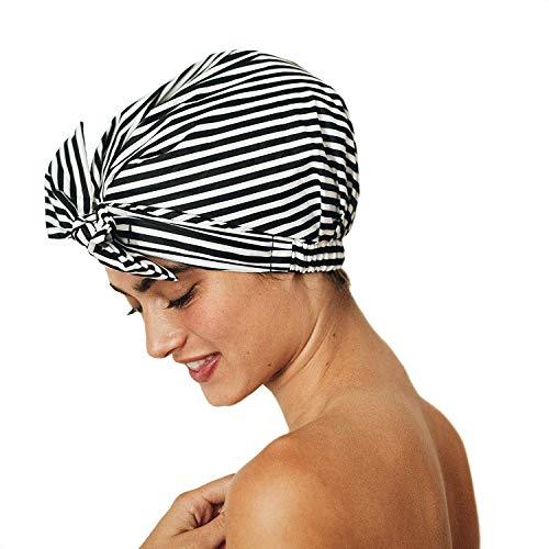 Kitsch Luxury Shower Cap for Women – Waterproof, Reusable Shower Cap for Long Hair, Fashionable Shower Cap (Black and…