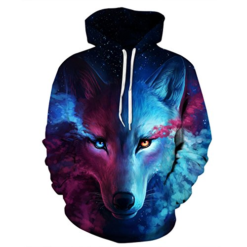 Men's Long Sleeve 3D Digital Print Space Wolf Lover's Design Baseball Pullover Hoodies(L,blue) by JJCat