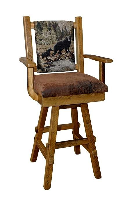 Superb Amazon Com Rustic Reclaimed Barn Wood Swivel Bar Stool W Pdpeps Interior Chair Design Pdpepsorg