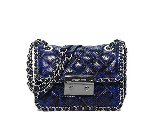 Michael Kors Women's Carine Shoulder Bag Electric Blue Embossed Leather Medium