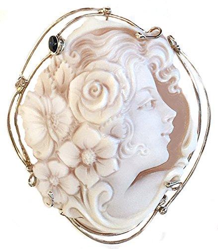 (Cameo Brooch Pendant Enhancer Primavera, Natural Sapphire, Sterling Silver, Italian)