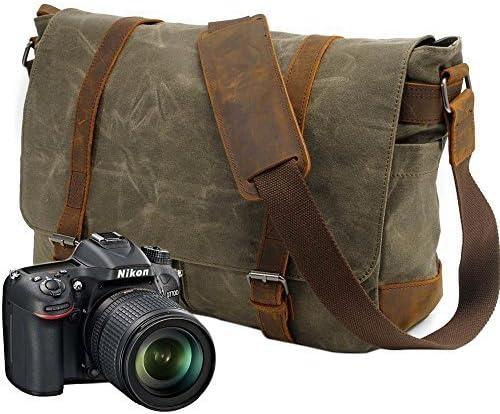 Camera Hombro Bolsa de Mensajero Mochila de Lona para Hombres Mujeres Impermeable Antirrobo Bolso de Fotograf/ía de Viaje para 1 C/ámara DSLR 3 Lentes para Nikon Canon Sony