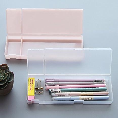 Zoohot pequeña Estuche de plástico para lápices,translúcido Mate estuche Caja de los efectos de escritorio,Conjunto de 3 (Blanco, rosa, verde): Amazon.es: Oficina y papelería