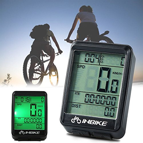 Waterproof Design 11 Function Day/Night Bicycle Computer LCD Backlight Multifunction Digital Sport Cycling Wireless Sensor Speedometer Fits All Bikes Easy Install and Operate BK141 by iGrove