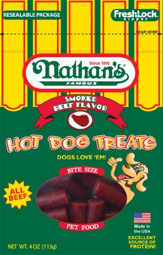 Nathan's Famous Hot Dog Treats, All Beef, 4-Ounce Ziplock Bags (Pack of 4), My Pet Supplies