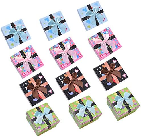 chiwanji ギフトボックス 指輪 ピアス アクセサリー 正方形 ボックス プレゼント 包装 贈り物 約12個入り