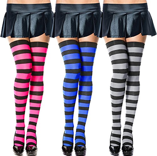 Chalier Womens Long Socks Striped Thigh High Socks Cotton Over the Knee Socks Boot Stockings Leg Warmers