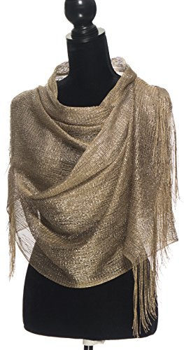 Evening Gold Shimmer - Scarfs for Women - Shawls and Wraps for Evening Dresses - Beige Shawl Wrap