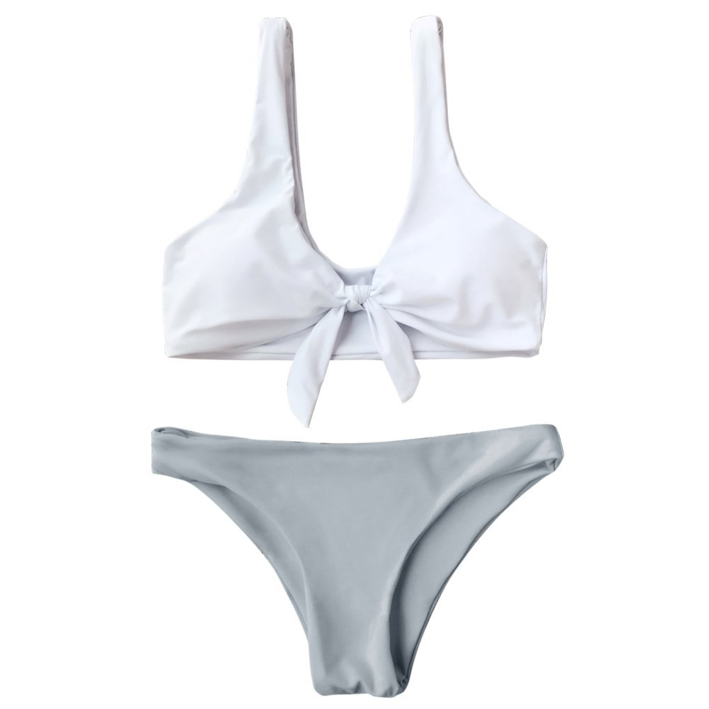 3518ae495b083 Amazon.com  GAMISS Women s Front Tied Bralette Bikini Push up Two Piece  Swimsuits  Clothing