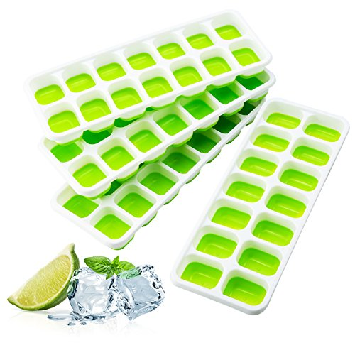 (Ice Cube Trays, TOPELEK Easy-Release TPE Trays with Spill-Resistant Lid, LFGB/FDA Certified and BPA Free, 14 Cubes, Stackable and Dishwasher Safe)