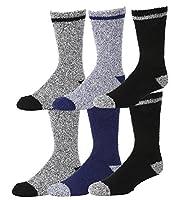 Gilbin's Men's Super soft Fuzzy Slipper Socks. Solid Colors, 6 Pack