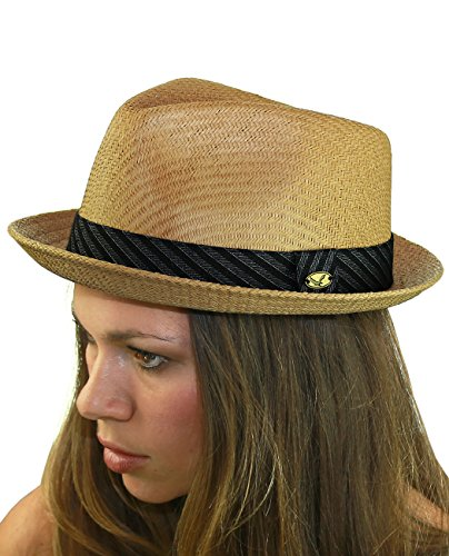 NYFASHION101 Striped Band Straw Weaved Lightweight Trilby Fedora Hat - Light Brown, (Straw Trilby Hat)
