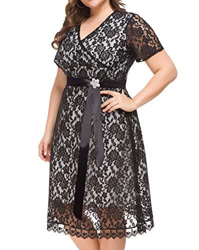 a953927c71c5 PlusSize Depot Women's Lace Casual V Neck Short Sleeve Swing Skater Dress  with Belt Plus Size