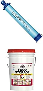 LifeStraw Personal Water Filter with Augason Farms 30-Day Emergency Food Storage Supply Pail