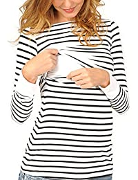 TOPmountain Mama Nursing T-Shirt Maternity Pregnant Breastfeeding Long Sleeve Sweatshirt Tops