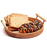 Pure Handmade weaving rattan tray kitchen storage tray dry fruit & bread Basket Snack Dish Tabletop Serving Baskets Vietnam Imported rattan household round crafts (Two handles)