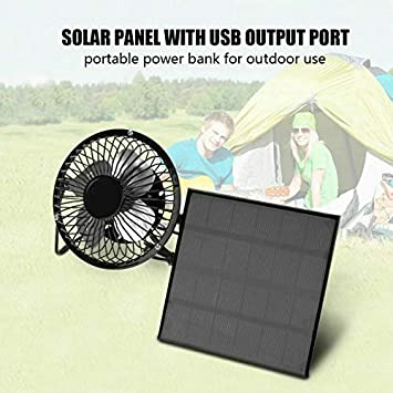 Portable 4//6//8 USB Solar Power Panel Camping Fan Outdoor