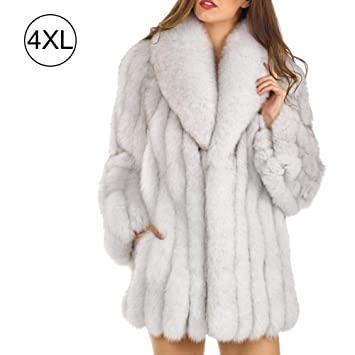 Abrigo de piel sintética de otoño e invierno Medio de piel de imitación para mujer