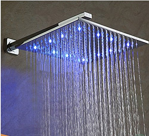 GOWE Brass Bathroom Bath Rainfall Overhead Shower Set Brass LED Shower Faucet Set with 10 inch Shower Head LED + LED Hand Shower 2