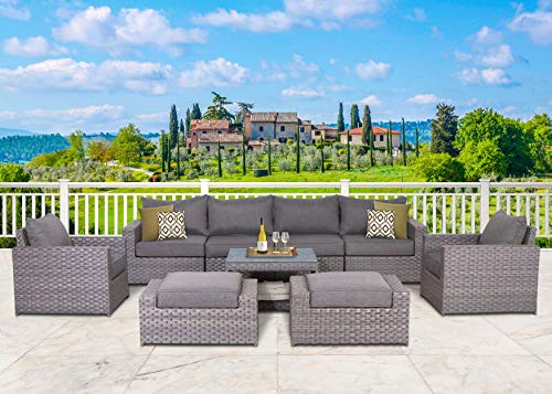 Resin Wicker Furniture - SunHaven Resin Wicker Outdoor Patio Furniture Set - 9 Piece Conversation Sectional Premium All Weather Gray Rattan Wicker, Aluminum Frame with Deluxe Fade Resistant Olefin Cushions (9 Piece Cromwell)