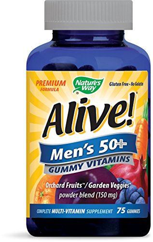 Nature's Way Alive! Mens 50+ Premium Gummy Multivitamin, Fruit and Veggie Blend (150mg per serving), Full B Vitamin Complex, Gluten Free, Made with Pectin, 75 Gummies