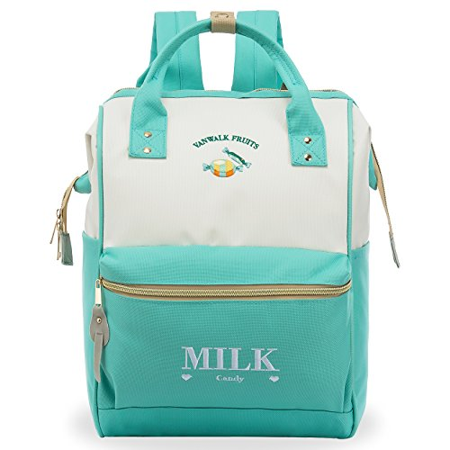 ZOMAKE Casual Travel Backpack, Diaper Bag Laptop Daypack Stylish School Backpack for Women & Girls, with Wide Doctor Style Top Opening(Mint Green)