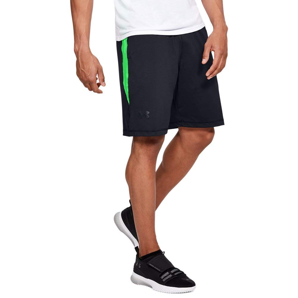 Under Armour Men's Raid 10-inch Workout Gym Shorts, Black (014)/Arena Green, Large by Under Armour