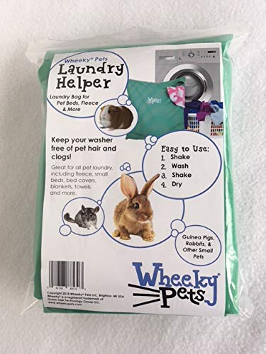 """Wheeky Pets Laundry Helper, Laundry Bag for Pet Beds, Fleece, C&C Cage Liners, Midwest Cage Liners and More, for Guinea Pigs, Rabbits and Small Pets, Green/White, Size 29"""" W x 31"""" L 3"""