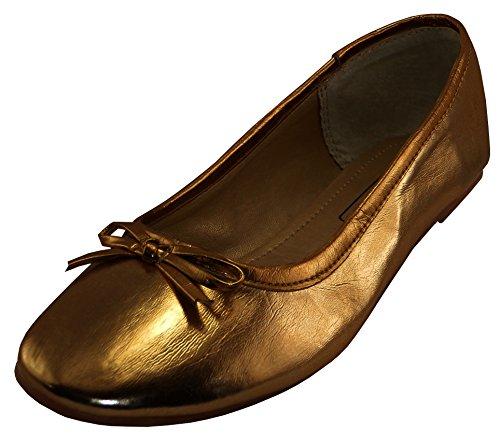 - Cambridge Select Women's Classic Slip-On Closed Round Toe Bow Ballet Flat,10 B(M) US,Bronze Pu