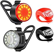 Bike Light Set, USB Rechargeable Bike Front Light and Tail Light Combo with 6 Brightness Modes, Ultra Bright I