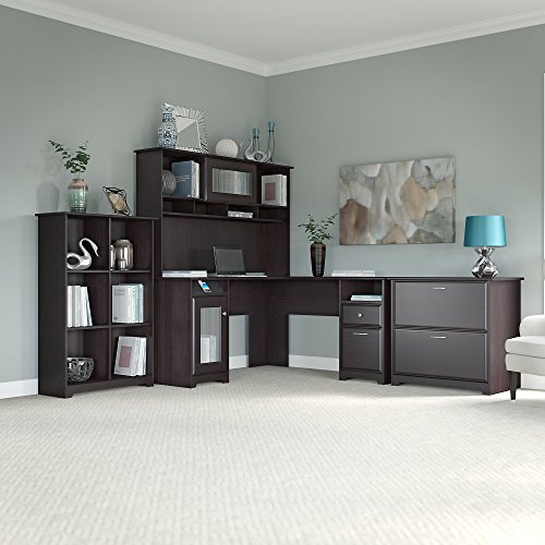 Cabot L Shaped Desk with Hutch, 6 Cube Bookcase and Lateral File Cabinet by Bush Furniture