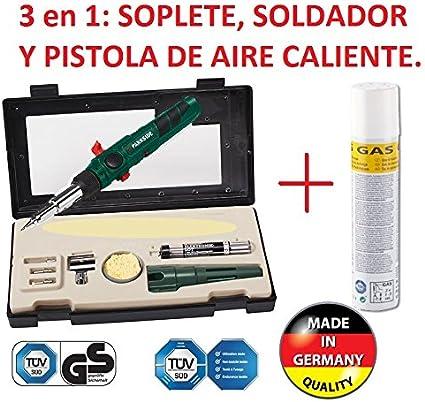 SOLDADOR A GAS PROFESIONAL RECARGABLE 3/1 SOLDAR, SOPLETE, AIRE CALIENTE NUEVO A GAS CON ESTUCHE Y BOTELLA DE GAS EXTRA DE RECARGA