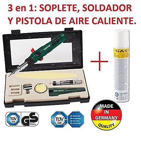 SOLDADOR A GAS PROFESIONAL RECARGABLE 3/1 SOLDAR, SOPLETE, AIRE CALIENTE NUEVO A GAS CON ESTUCHE Y BOTELLA DE GAS EXTRA DE RECARGA: Amazon.es: Bricolaje y ...