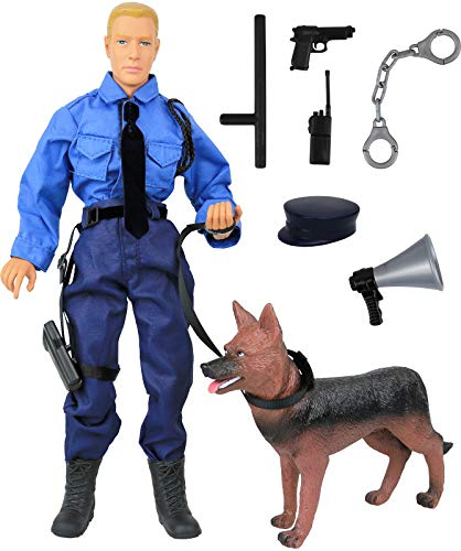 "Click N' Play CNP30619 Police Force Unit, Officer with Dog 12"" Action Figure Play Set with Accessories, Brown/A from Click N' Play"